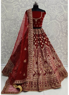 Maroon Velvet Embroidery Work Bridal Lehenga Choli with Dupatta