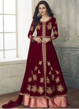 Maroon Wedding Georgette Anarkali Salwar Kameez
