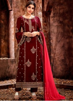 Maroon Wedding Georgette Designer Straight Salwar Kameez