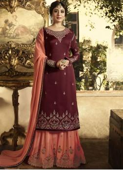 Maroon Zari Satin Designer Pakistani Suit