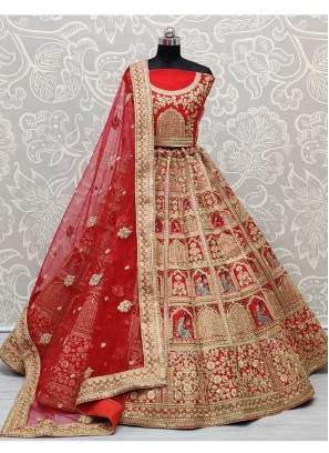 Marvellous and Ingenious Work on Silk Fabric Red Bridal Lehenga Choli with Dupatta and Heavy Blouse