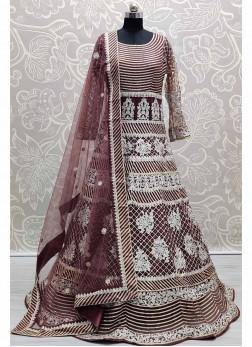 Marvellous Onion purple German Zari Full Work Stitched Gown