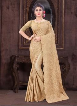 Marvellous Resham & Glitter Coding Embroidery Work On Saree In Cream