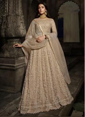 Marvellous Wedding Wear Designer Work On Net Gown In Cream