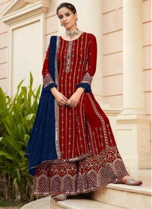 Marvellous Wedding Wear Mirror Work On Salwar Suit In Maroon - blue
