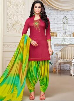 Marvelous Embroidered Art Silk Designer Patiala Suit