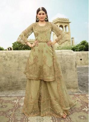 Marvelous Olive Green Embroidery Anarkali Lehenga Style Salwar Suit