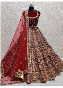 Marvelous Velvet Designer Multi-Thread Embroidered Bridal Lehenga Choli In Maroon