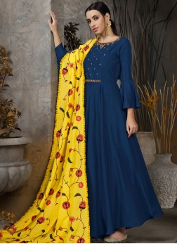 Maslin Cotton Navy Blue Anarkali Salwar Kameez