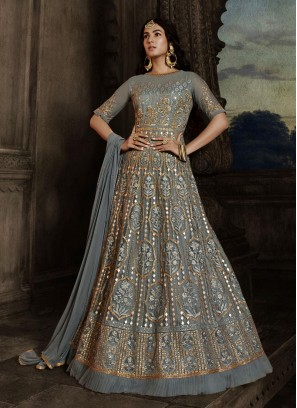 Masterly Embroidery Work On Net Bridal Look Gown In Grey