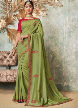 Masterly Green Embroidered Classic Saree