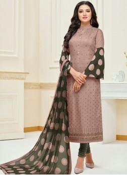 Mauve  Chanderi Cotton Embroidered Churidar Suit