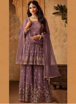 Mauve  Embroidered Party Trendy Palazzo Salwar Kameez