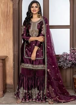 Mesmeric Embroidered Purple Designer Palazzo Salwar Kameez