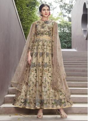 Mesmeric Gold Mehndi Anarkali Salwar Kameez