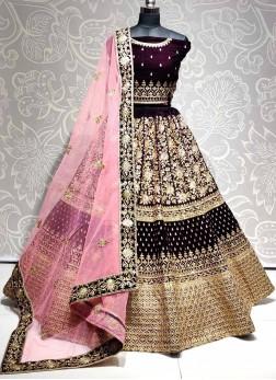 Mesmerizing Bridal Wear Velvet & Thread Work On Lehenga Choli In Purple - Pink