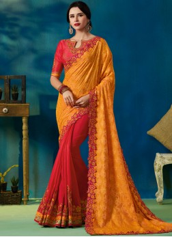 Mesmerizing Jacquard Silk Designer Half N Half Saree