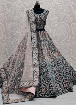 Mesmerizing Multi Thread Embroidery Velvet Bollywo