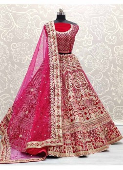 Michmetch Design Embroidery Work Lehenga Choli In Pink