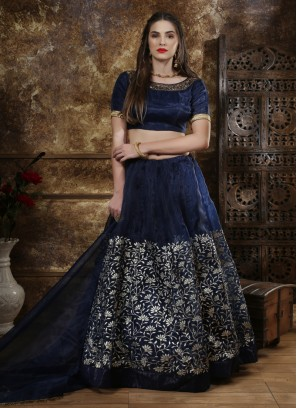 Midnight Blue Organza Lehenga Choli