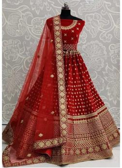 Mind-Blowing Bridal Wear Velvet & Dori - Thread Work On Lehenga Choli In Red