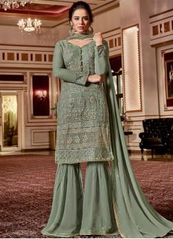 Miraculous Georgette Stone Work Green Designer Palazzo Salwar Kameez