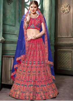 Miraculous Patch Border Art Silk Pink Lehenga Choli