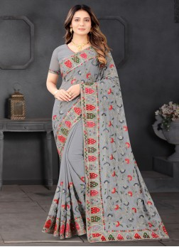 Mirror - Sequences Embroidered Saree In Grey