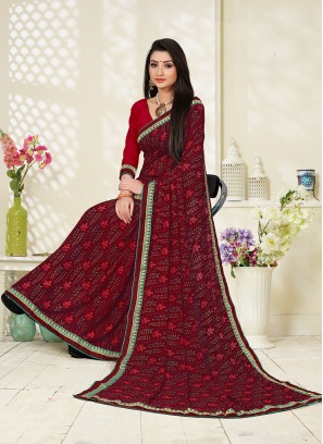 Mod Abstract Print Faux Georgette Maroon Printed Saree
