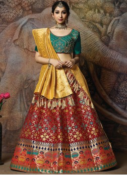 Mod Embroidered Red Silk Designer Lehenga Choli