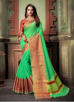Mod Green Weaving Classic cotton Saree