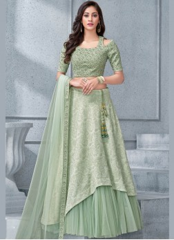 Modernistic Embroidered Sea Green Lycra Lehenga Choli