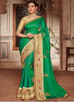 Modernistic Green Mehndi Trendy Saree