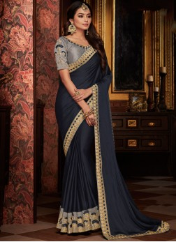 Modernistic Patch Border Navy Blue Traditional Designer Saree