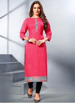 Modernistic Print Hot Pink Rayon Party Wear Kurti