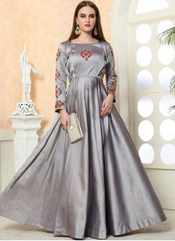 Modernistic Tafeta Silk Embroidered Designer Gown