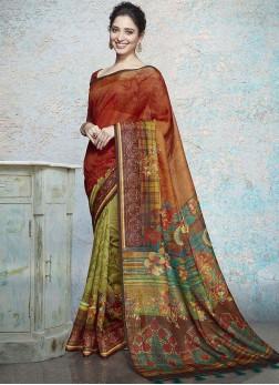 Modest Abstract Print Tamannaah Bhatia Linen Printed Saree