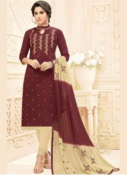 Modest Embroidered Brown Salwar Kameez