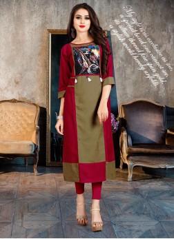 Modest Print Multi Colour Party Wear Kurti
