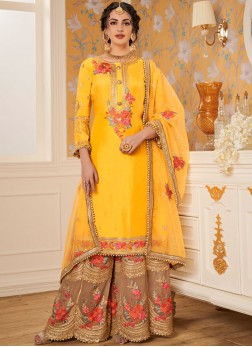 Modest Viscose Embroidered Yellow Designer Palazzo Salwar Kameez