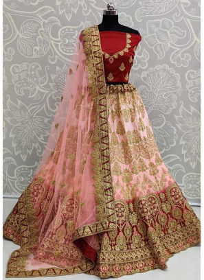 Modish Bridal Wear Embroidery Work Silk On Lehenga Choli In Pink