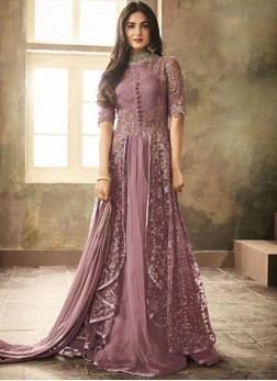 Modish Embroidered Purple Net Floor Length Anarkali Suit