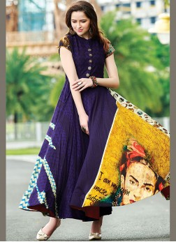 Monumental Cotton   Digital Print Multi Colour Designer Gown