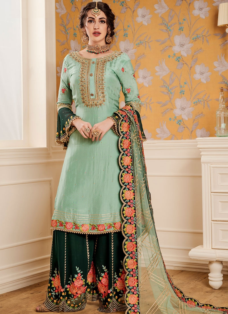 e1a56ef717 Monumental Faux Georgette Embroidered Designer Pakistani Suit. Hover to zoom