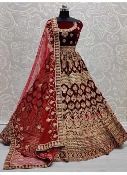 Morni Patterned Velvet Bridal Lehengacholi In Maroon