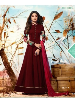 mugdha jenniffer winget maroon color salwar suits