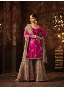 Sharara vaishnavi pink sharara suit