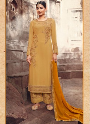 Multi Color Embroidery Work Pant Style Salwar Kameez In Yellow
