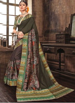 Multi Colour Abstract Print Art Silk Traditional Designer Saree