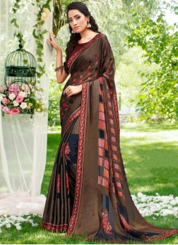 Multi Colour Abstract Print Brasso Printed Saree
